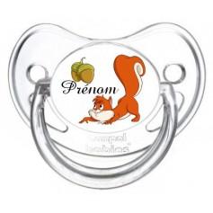 Tétine personnalisée écureuil et prénom