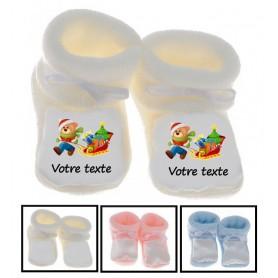 Chaussons bébé Ours Traineau Noël personnalisés