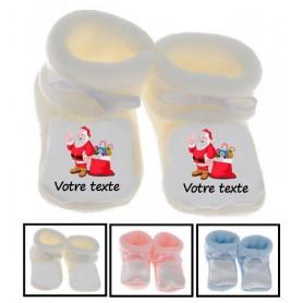 Chaussons bébé Père Noël personnalisés