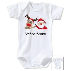 Body bébé Père Noël Cerf