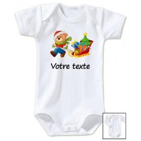 Body bébé Ours traineau Noël