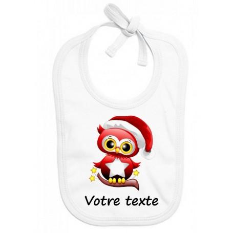 Bavoir bébé Hibou Noël