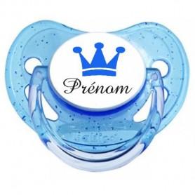 Tétine bébé personnalisée couronne bleu et prenom
