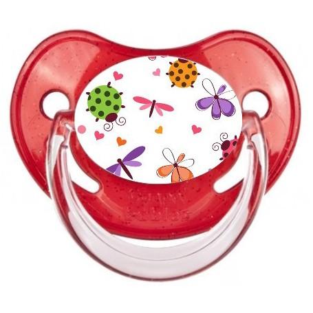 Tétine de bébé papillons coccinelles