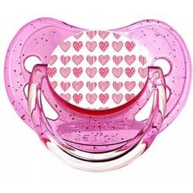 Tétine de bébé coeurs roses
