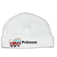 Bonnet personnalisé camion pompier prénom