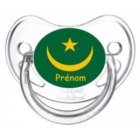 Tétine personnalisée drapeau Mauritanie et prénom