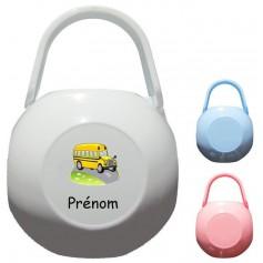Boîte à tétine personnalisée Bus jaune Prénom