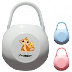 Boîte à tétine personnalisée Singe Prénom
