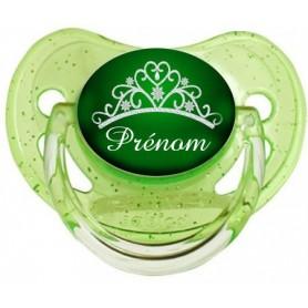 Tétine personnalisée couronne verte et prénom