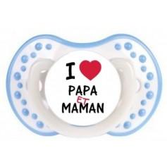 """Tétine personnalisée """"I love papa et maman"""""""