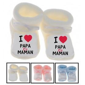 Chaussons bébé  I love papa et maman
