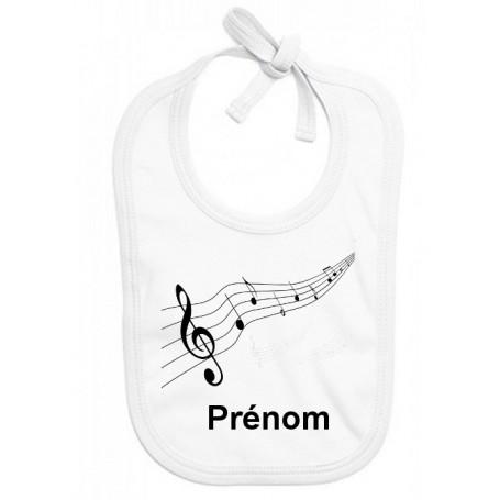 Bavoir personnalisé musique prénom