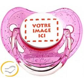 Tétine personnalisée photo à Paillettes rose