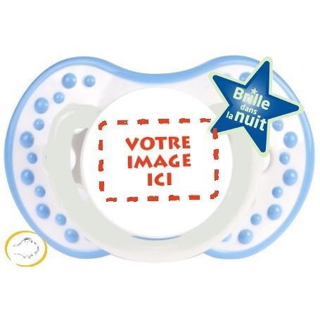 Tétine personnalisée photo Night and day Blanc et bleu