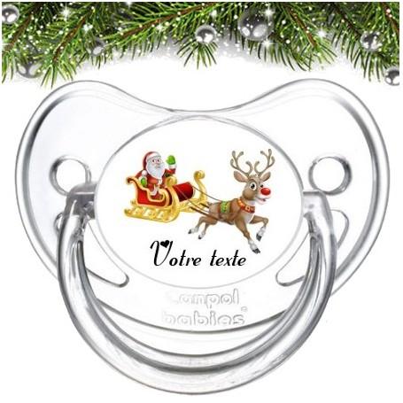 """Tétine bébé personnalisée """"Père Noël et renne"""""""
