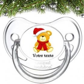 """Tétine bébé personnalisée """"Ourson Noël"""""""
