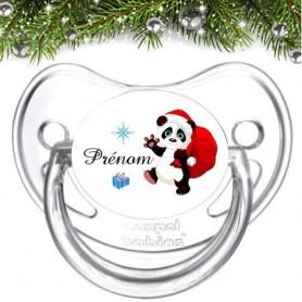 Tétine de bebe famille panda de noël et prénom