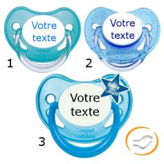 Lot de 3 Tétines personnalisées garçon (physiologique) chupa bleu / a paillette bleu / fluo bleu