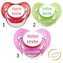 Lot de 3 Tétines personnalisées à paillette rouge / verte / rose (physiologique)