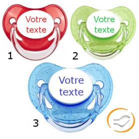 Lot de 3 Tétines personnalisées à paillette rouge / verte / bleu (physiologique)