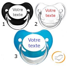 Lot de 3 Tétines personnalisées chupa garçon (physiologique) chupa noir / transparente / bleu