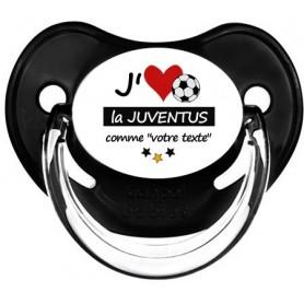 Tétine foot personnalisée J'aime la Juventus