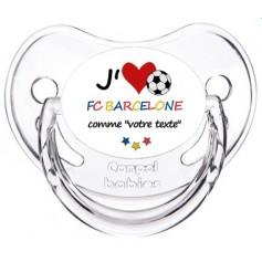 Tétine foot personnalisée J'aime FC Barcelone