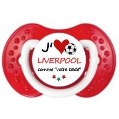Tétine foot personnalisée J'aime Liverpool
