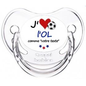 Tétine foot personnalisée J'aime l'Olympique Lyonnais