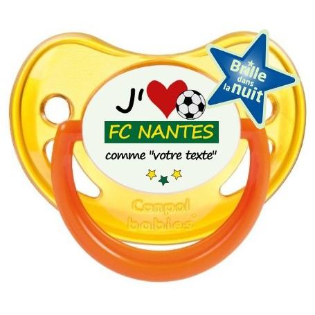 Tétine foot personnalisée J'aime FC Nantes