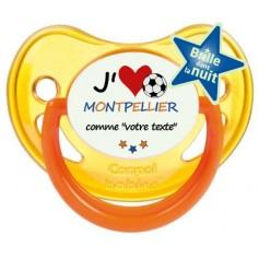 Tétine foot personnalisée J'aime Montpellier