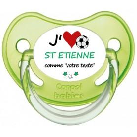 Tétine foot personnalisée J'aime Saint Etienne