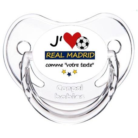 Tétine foot personnalisée J'aime Real Madrid