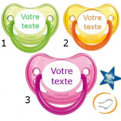 Lot de 3 Tétines personnalisées fluo verte / jaune / rose (physiologique)