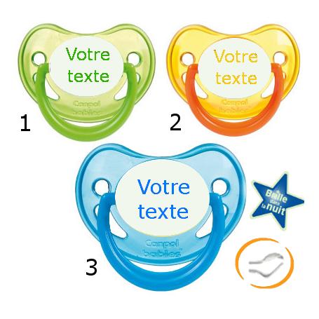 Lot de 3 Tétines personnalisées fluo verte / jaune / bleu (physiologique)