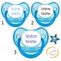 Lot de 3 Tétines personnalisées fluo bleu (physiologique)