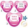 Lot de 3 Tétines personnalisées fluo rose (physiologique)