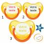 Lot de 3 Tétines personnalisées fluo jaune (physiologique)