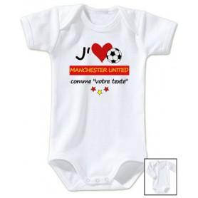 Body bébé personnalisé foot J'aime Manchester United