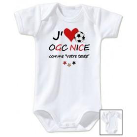 Body bébé personnalisé foot J'aime OGC Nice