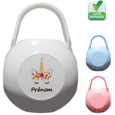 Boîte à tétine personnalisée Licorne Prénom