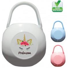 Boîte à tétine personnalisée Licorne fleur Prénom