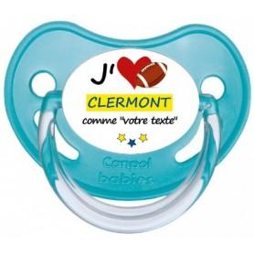 Tétine rugby personnalisée J'aime Clermont
