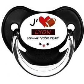 Tétine rugby personnalisée J'aime Lyon