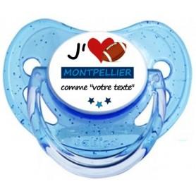 Tétine rugby personnalisée J'aime Montpellier