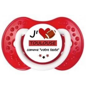 Tétine rugby personnalisée J'aime Toulouse