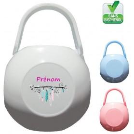 Boîte à tétine personnalisée Plume fille Prénom