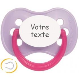Tétine bébé personnalisée cerise Continent violet rose