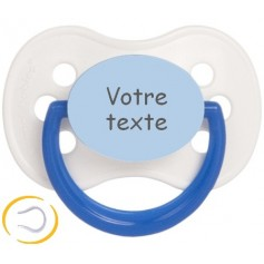 Tétine bébé personnalisée cerise Continent blanche bleue
